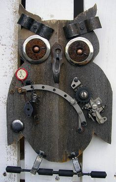 Steampunk Owl Wall Hanging  Birthday Gift by RusticSpoonful