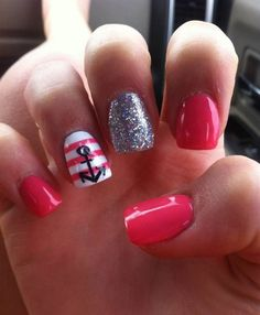 anchor nail art - 60 Cute Anchor Nail Designs  <3 <3