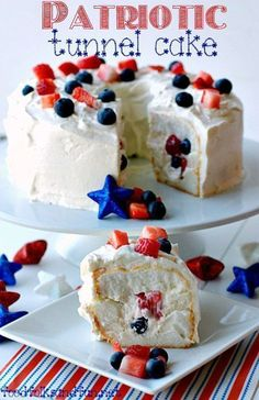 Patriotic Tunnel Cake Recipe - a quick & easy dessert recipe for the 4th of July!