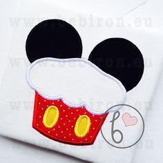 Mouse Ears Cupcake Birthday Boys Applique by BebironApplique