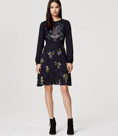 Primary Image of Petite Valley Floral Flare Dress