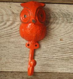 Cast  Iron Owl Hook/ Hanger Painted in Rustic  by happybdaytome, $10.00