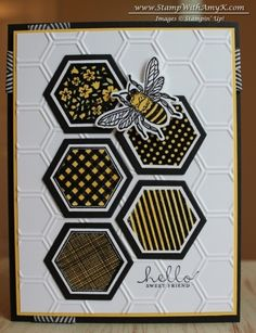 Six-Sided Sampler Sweet Friend Card Stampin Up bee card Hexagon Cards, Hexagon Quilt, Stampin Up Anleitung, Bee Cards, Cards For Friends, Masculine Cards, Creative Cards, Greeting Cards Handmade, Scrapbook Cards