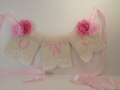 Pearls and Lace Baby's First Birthday High Chair Banner; Burlap banner, Shabby Chic, Pearls, Lace, Girlie, Burlap, Lace and Ribbon on Etsy, $14.00