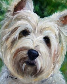 cairn terrier dog puppy art oil paintings by mary sparrow smith from hanging the moon, home decor, gift ideas, prints