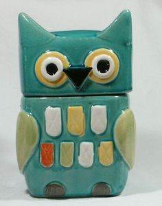 "Owl Biscuit or Cookie Jar Canister Hand Painted Ceramic 09756 OWL NEW 30cm 12"" #Unbranded"