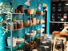 those same galvanized ikea shelves.yet in this photo the shelves are holding some pretty heavy dishes.anyone own these shelves. Ikea Kitchen Cabinets, Kitchen Storage, Kitchen Rack, Pantry Storage, Kitchen Floor, Kitchen Shelves, Food Storage, Turquoise Wall Colors, Ikea Hacks