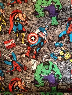 Marvel+Comic+SuperHero+Fabric+By+The+Yard+by+CutiePieCraftSupply,+$11.00