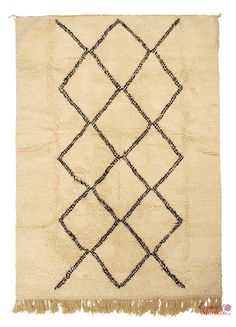 Beni Ourain Rug Vintage. Moroccan Pure Wool . Hand-knotted Handmade in Morocco Genuine and Authentic. 232 cm x 197 cm (BOJ2)