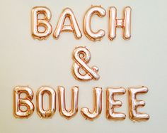 """16 """"Rose Gold, Silver, Gold Bachelorette Party Decor Decorations BACH & BOUJEE Banner Bachelorette Decor Bach Balloons Bride and Boujee - - Vegas Bachelorette, Bachelorette Banner, Destination Bachelorette Party, Bachelorette Party Quotes, Bachelorette Party Decorations, Bachlorette Themes, Rose Gold Party Decorations, Ideas, Bachelor Pad Decor"""