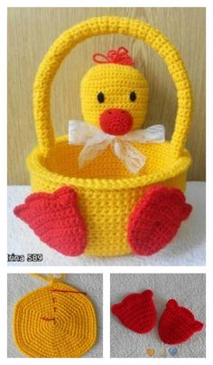 Crochet Duckling Basket Free Pattern ~ These would be so cute to make for the kids Holiday Crochet, Crochet Gifts, Crochet Yarn, Crochet Toys, Crochet Baskets, Easter Crochet Patterns, Amigurumi Patterns, Crochet For Kids, Easter Baskets