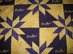 Crown Royal quilt design.  I'm designing one now and looking for ideas.  I have over 80 bags!!