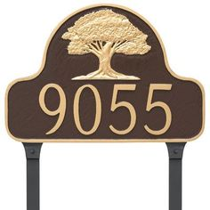 Montague Metal Products Oak Tree Arch Address Plaque Finish: Brick Red/Silver