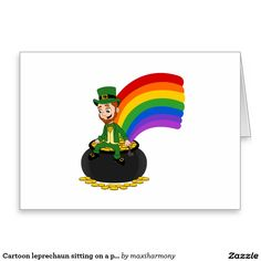 Cartoon leprechaun sitting on a pot of gold greeting card