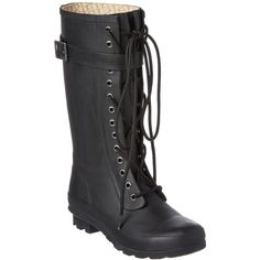 Chooka Chooka Sara Lace-Up Rubber Rain Boot ($42) ❤ liked on Polyvore featuring shoes, boots, black, mid-calf boots, mid calf lace up boots, black wellington boots, black boots, rain boots and lace up rubber boots