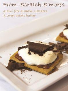 Sweet Potato S'mores w/ Grain-Free Graham Crackers Recipe - http://dessertly.com/recipes/sweet-potato-smores-w-grain-free-graham-crackers-recipe/