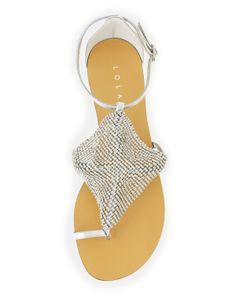 7a57eb7926df Lola Cruz Rhinestone Mesh Toe-Ring Sandal