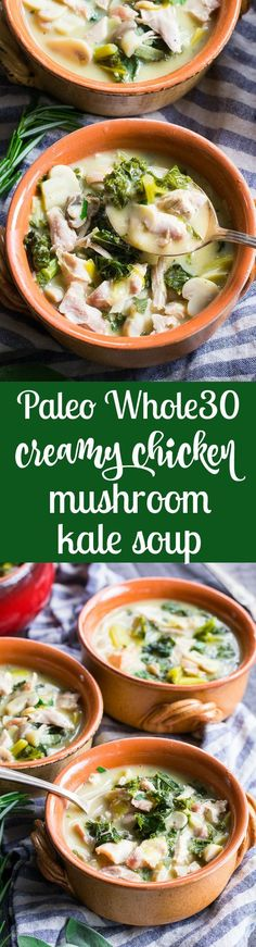 This Creamy Paleo Chicken Soup is cozy comforting and loaded with veggies and flavor! Mushrooms garlic leeks kale and chicken in a creamy dairy free paleo and soup that's filling and healthy. Quick and easy to make for weeknight dinners Paleo Chicken Soup, Paleo Soup, Healthy Soup, Healthy Eating, Clean Eating, Healthy Life, Whole 30 Soup, Paleo Whole 30, Whole 30 Recipes