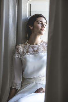 Encaje bordado en algodón + crep de seda. Vestido de novia- wedding dress.