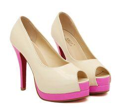 ebe074c1cc3d Platform peep toe pumps color blocked fashion dress shoes  CZ-4408-Lovelyshoes.net