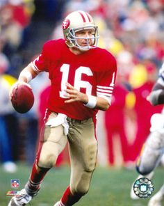 Joseph Clifford Montana, Jr.,   (born June 11, 1956)  - a retired American  football player.  He  began his NFL career in 1979 with the San Francisco 49ers -  played quarterback (QB) for the next 14 seasons and  started four Super Bowl games. The  49ers  won all of them.  In 2000, Montana  elected to  Pro Football Hall of Fame.
