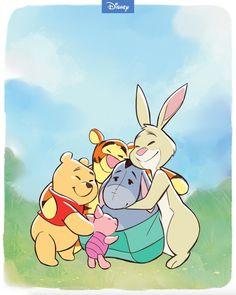 Pooh, Piglet, Tigger, Eeyore, and Rabbit from Winnie the Pooh. Cartoon Wallpaper Iphone, Disney Phone Wallpaper, Cute Cartoon Wallpapers, Cartoon Pics, Disney Kunst, Disney Art, Walt Disney, Disney Drawings, Cute Drawings