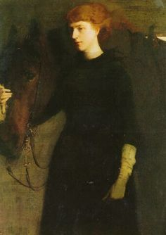"""""""Portrait of Elizabeth Richardson French with her Horse,"""" Abbott Handerson Thayer, oil on canvas, 47.5 x 34.5"""", private collection."""