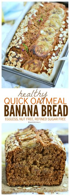 Quick & Healthy Oatmeal Banana Bread - batter ready in 3 minutes in a food processor! The Best Clean Eating On-The-Go Breakfast. Vegan Banana Bread, Refined Sugar Free & Nut Free.