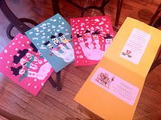 Cute hand-made Christmas cards the students can make!