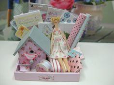 Dollhouse Miniature Tilda Style Display with Doll and Bird House
