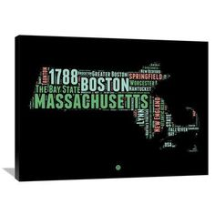 "Naxart 'Massachusetts Word Cloud 1' Textual Art on Wrapped Canvas Size: 30"" H x 40"" W x 1.5"" D"