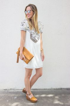 White Embroidered Dress / Summer Outfit Inspiration /  LivvyLand