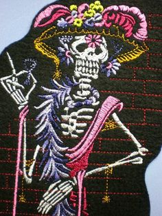 12 Inch Embroidered Day of the Dead Skeleton Applique Patch, Skull and Bones, Dia de Los Muertos,  Mexcian, Mexico, Iron On Patch, Gothic