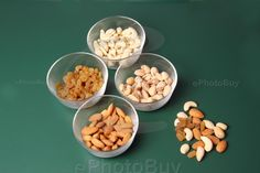 Dry fruits in different bowls