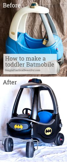 Turn an old Little Tikes car into a toddler Batmobile The Ultimate Pinterest Party, week 80