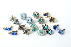 #vintage #rhinestone #earrings #blue #turquoise http://www.etsy.com/listing/83041635/vintage-blue-turquoise-earrings-9-pairs @Christine Shook $22.50
