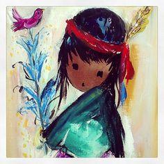 "DeGrazia's ""The Pink Bird"" oil on canvas."