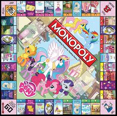 My Little Pony Collectors Edition Monopoly game board. A  unique twist on an American classic!  Coming soon!  Want more info?http://www.usaopoly.com/games/monopoly-my-little-pony