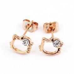 HK |❣| HELLO KITTY Face Gold Stud Earrings
