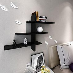Xiaoandfei Wall creative clapboard wall shelf TV backdrop living room bedroom decorative frame shelf , black *** Learn more by visiting the image link. (This is an affiliate link and I receive a commission for the sales)