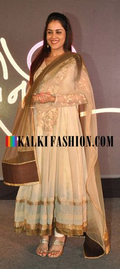 Genelia D'Souza  in Ritu Kumar's anarkali suit attends the launch of movie 'Lai Bhari http://www.kalkifashion.com/