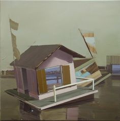 Mobilien, 2008. I am borrowing the color palette here - love the complex neutrals in the sky and water. The sky/backdrop and water reflection give many of these an unreal, isolated feeling; this one even more so because the windows open to an other place.