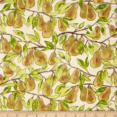 Valencia by Laura Gunn for Michael Miller Fabrics Pear Branch in Cream Metallic is part of Michael Miller Fabrics Valencia fabric collection by Laura Gunn for patchwork quilting & dressmaking Michael Miller Fabric, Warm Autumn, Fun Prints, Shades Of Green, Dressmaking, Accent Decor, Quilts, Patchwork Quilting, Fabric Design