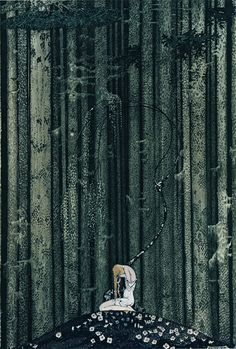 She came to rest at a green place in the dark woods... - At rest in the wood by Kay Nielsen, from East of the sun west of the moon