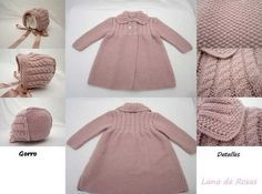 Paz Rodriguez Baby Girls Pink Pram Coat and Bonnet Knitting For Kids, Baby Knitting Patterns, Baby Patterns, Tricot Baby, Baby Barn, Kids Tops, Baby Coat, Knitted Baby Clothes, Baby Cardigan