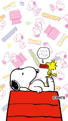 Snoopy Lying on Top of His Doghouse With Woodstock Standing on Snoopy's Feet Holding His Dog Food Bowl in His Mouth Snoopy Love, Snoopy E Woodstock, Snoopy Wallpaper, Disney Wallpaper, Iphone Wallpaper, Peanuts Cartoon, Peanuts Snoopy, Snoopy Party, Snoopy Quotes