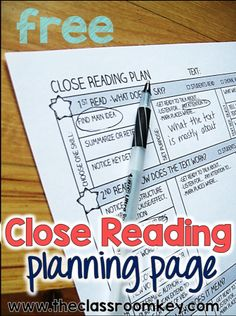 FREE close reading planning page, improve reading coprehension with close reading lessons