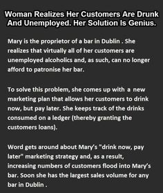 Actually, her solution is NOT genius, but the story does clearly explain the economy of 2014/15! (click through for whole story!)