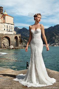 michal medina spring 2016 bridal strapless sweetheart neckline fit to flare mermaid wedding dress marsha
