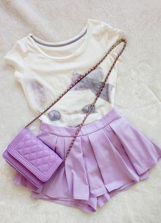 Cat T-shirt Lenth:60 cm Shoulder width:37 cm Chest: 88-106 cm Buy skirt: http://sweetbox.storenvy.com/products/1956878-purple-bubble-skirt-baseball-skirt Buy bag: http://sweetbox.storenvy.com/products/1956907-purple-diamond-shaped-chain-bag